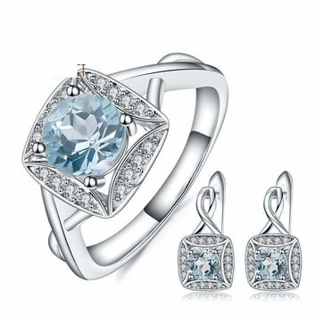 Sterling Silver Natural Sky Blue Topaz Gemstone Rings  and Clip Earrings 925 Fine Jewelry Set