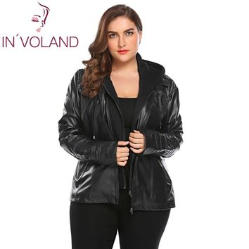Trendy IN'VOLAND Big Size Women Jacket Coat Winter Autumn Hooded Long Sleeve Lady Large Faux-Leather Jacket Outerwear Plus Size 3XL AT_94_13