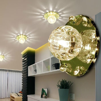 3w crystal chandelier modern led ceiling/hallway lighting white/warm living room light fixtures