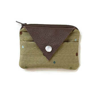 Olive Coin Purse & Card Holder with Leather Accent and Polka Dots, Stylish Pocket Wallet, Unique Card Case, Zippered Pouch, Free Shipping