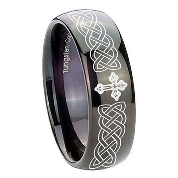 8MM Classic Dome Celtic Cross Shiny Black Tungsten Laser Engraved Ring