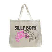 Silly Boys Jeeps Are For Girls! - Trendy Natural Canvas Bag - Funny and Unique - Tote Bag