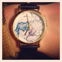 On The Map Leather Watch - Urban Outfitters