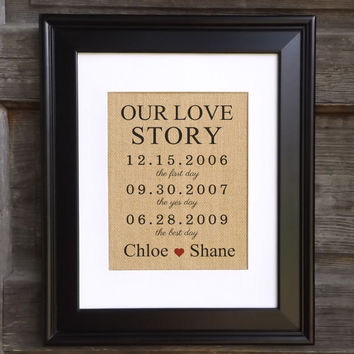 Our Love Story Sign on Burlap | Custom Wedding Print | Burlap Print | Wedding Gift | Engagement Gift | Burlap Wall Art | Personalized Gifts