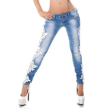 Wipalo Women Sexy Side Lace Crochet Appliques Stretch Jeans Ladies Casual