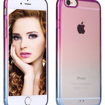 iPhone 6 Case, Vofolen® iPhone 6 Cover Colorful Clear Shell Slim Case Translucent Impact Resistant Flexible TPU Soft Bumper Case Protective Shell for Apple iPhone 6 6S 4.7 inch (Purple Blue)