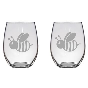 Cute Bee Engraved Glasses, Honey Bee, Insect Free Personalization