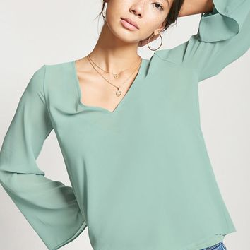 Sheer V-Neck Top