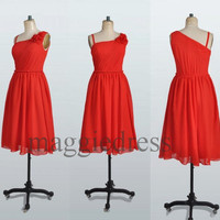 Custom Red Short Bridesmaid Dresses 2014 Prom Dresses Party Dresses Evening Dresses Wedding Party Dress Homecoming Dresses