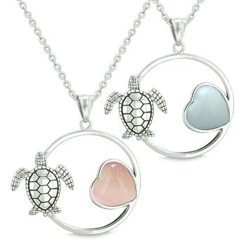 Amulets Cute Sea Turtles Love Couples Best Friends Set Magic Heart Pink Cats Eye Opalite Necklaces