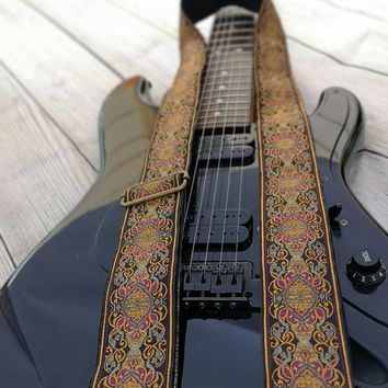 """Guitar Strap, Adjustable Personalized Strap, """"SUPERNOVA"""", Floral Brown Leather Ends, For Electric Acoustic or Bass Guitars, Engraving & Logo"""