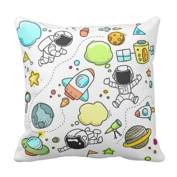 Outerspace Astronaut Rocketship Planets Astronomy Throw Pillow