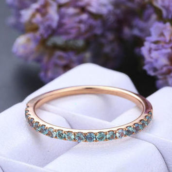 Alexandrite Wedding band,14k Rose Gold,Round Birthstone band,Anniversary ring,Promise ring,Half Eternity,Stackable,Pave Set,Gift for her