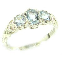 Ladies Solid Sterling Silver Natural Aquamarine English Victorian Trilogy Ring - Finger Sizes 5 to 12 Available