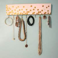 Gold Polka Dot White Jewelry Hanger / Accessory Organizer with Hooks / Kate Spade Confetti Inspired