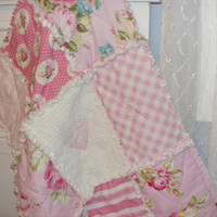 Security Blanket, Lovey Rag Quilt, Doll Quilt, Handmade, Sunshine Roses, Pink White, Shabby Chic, Chenille 21 X 31 Ready To Ship