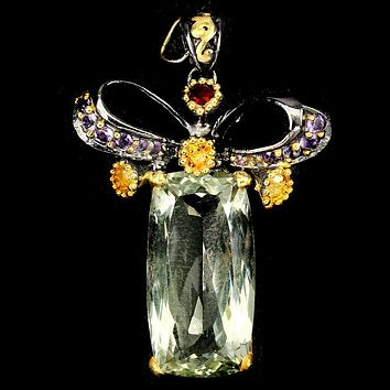 Handmade 14K Yellow Gold Natural Antique Cut 13CT Amethysts & Red Garnet Pendant