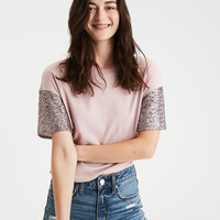 AE Sequin-Sleeve T-Shirt, Blush