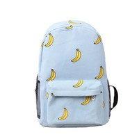 Happy Bag New Cute Canvas Shoulder Bag Computer Backpack for Girls Bananas Pattern