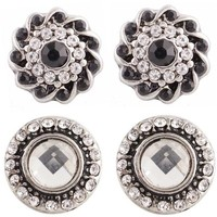 "Chunk Snap Charm Mini Petite Snaps 12 mm (1/2"") Snaps Two Pairs for Earrings - Clear and Black"