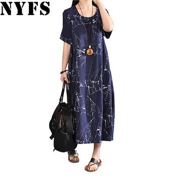 New Summer dress Fashion Printing Loose Plus Size Short sleeve Long Dress Casual Cotton Linen Vestidos Robe