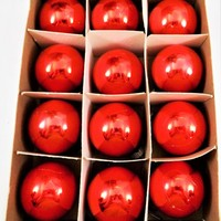 "Shiny Brite Red Ornaments, Small 1 3/4"" Balls, One Dozen, Original Box"