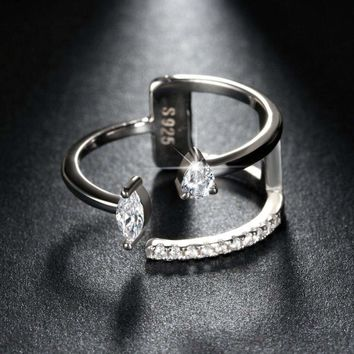 Round & Marquise Cut Cubic Zirconia Crystal Adjustable Open Finger Ring Jewelry