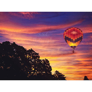 Hot Air Balloon Photography. Colorful Sunrise. Pink Orange Yellow Purple. Wall art. Whimsical Art. Sonoma County Hot Air Balloon Classic