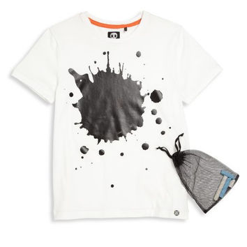 Sorry 4 The Mess - Boys/Girls Short Sleeve Paint Splash T-Shirt, White - 8Y