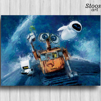wall-e and eve print pixar poster nursery decor disney wall art
