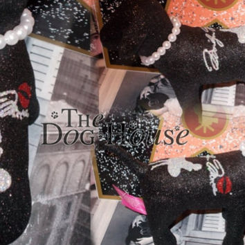 INSTOCK Black Marilyn Monroe Pearls Victoria Secret Customized Puppy Dog