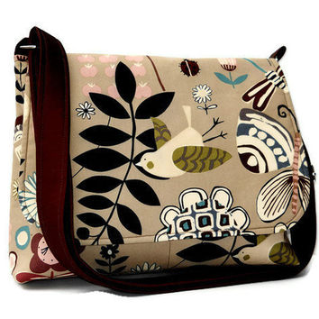 Women s Messenger Bag Fabric Purse - Tan with Funky Black and Brown Birds  and Flowers 0a38dd33d3