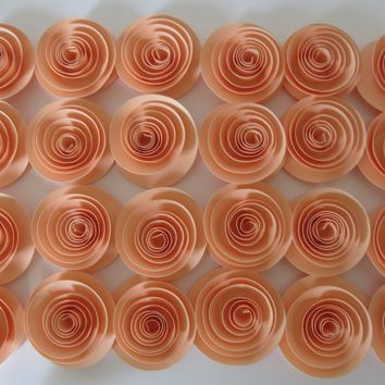 "Peach bridal shower decorations, pastel Orange paper flowers set of 24, small 1.5"" floral table decor, baby nursery decorating ideas"
