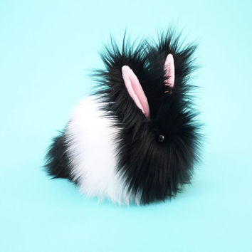 Stuffed Animal Stuffed Bunny Cute Plush Toy Bunny Kawaii Plushie Oscar the Black and White Snuggly Cuddly Faux Fur Rabbit Medium 5x8 Inches