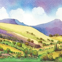 Original Watercolour Painting, The Brecon Beacons, Wales, Gift Idea, Art and Collectibles