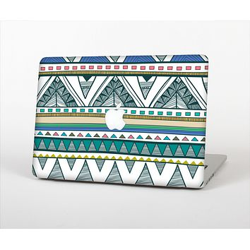 The Abstract Blue and Green Triangle Aztec Skin for the Apple MacBook Pro Retina 13""