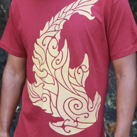 Hammerhead Shark Tee - Gold Screen Print on soft cotton shirts. 13 available T-Shirt colors. Flowing scaled armor. Hawaiian Cultural Motif.