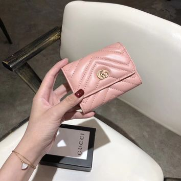 HCXX 19June 524 Gucci Classic C-lock Multifunctional Wallet Card pink