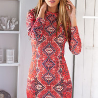 Geometric Print Long Sleeve Bodycon Mini Dress