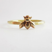 Bee ring, tiny honeybee ring, gold bee ring, gold brass  bee ring, hammered brass bee ring, silver band bee ring, silver band gold bee ring