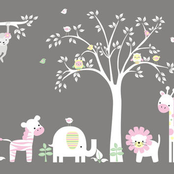 "Nursery Wall Decals, White Tree Stickers, Nursery Jungle Decals, White Colors Theme Murals, Girls Themed Wall Decals - 84"" x 127"""