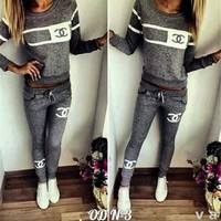 Women's Fashion Alphabet Print Long Sleeve Bottom & Top Casual Sportswear Set [7832931975]