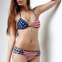 Erin Wasson Stars & Stripes Triangle Bikini Top - Womens Swimwear - Multi