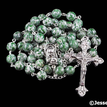 Catholic Rosary Beads White Green Qing Hai Jade Natural Stone Silver Traditional Five Decade