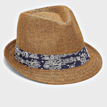 Womens Coffee Brown Straw Fedora Hat Navy Paisley Band Accent Beach, Pool, Vacation, Summer Hat