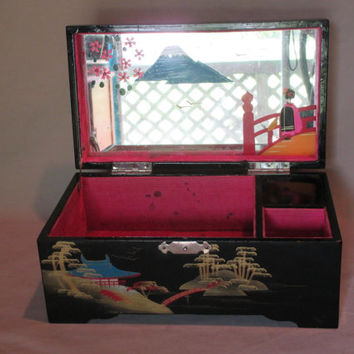 Music Jewelry Box, Vintage, Japanese Black Lacquer Finish, Mid-Century Storage Container