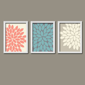 Beige Cream Turquoise Coral Navy Flower Burst Dahlia Bloom Artwork Set of 3 Trio Prints WALL Decor Abstract ART Picture Bedroom Bathroom