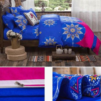 4pcs/set Bohemian Bedding Set Floral Printed Bed Linens Full Duvet Cover Flat Sheet Pillow Case 180cmx220cmE2S