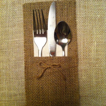 Burlap Silverware caddy holder - qty 6