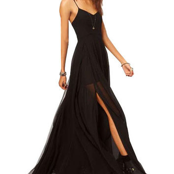 Black Strappy Mesh Maxi Dress with Slit